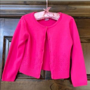 Carters 4T bright pink cardigan